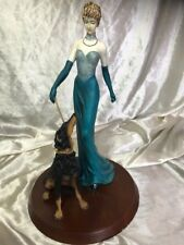 French Style Sculpture Beautiful Lady Turquoise Dress & Beauceron Dog Figurine