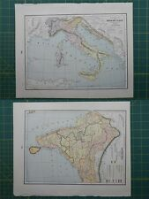 Italy British India Vintage Original 1895 Crams World Atlas Map Lot