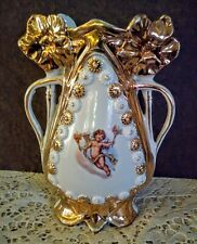 Antique Victorian Cherub Vase Porcelain Gold Floral Accents Handled Torches 6231