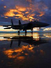 WAR MILITARY AIRCRAFT JET FIGHTER SUNSET REFLECTION POSTER ART PRINT BB4730A