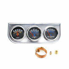 2'' 52mm Chrome Car Triple Gauge Set  Kit AMP Meter Water Temp Oil Pressure 3in1