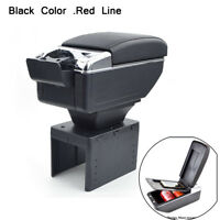 PU Leather Car Central Armrest Box Handrails Double-layer Cup Holder Black Red