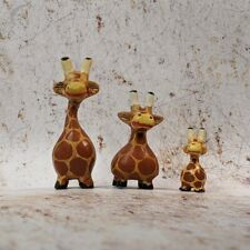 Giraffe Family Set of 3 Ornament Figure Wooden Super Cute