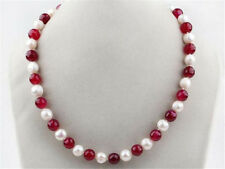 natural 7-8mm White Freshwater Pearl and Red 8mm Ruby Round Beads Necklace 18""