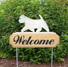 Westie Dog Breed Oak Wood Welcome Outdoor Yard Sign