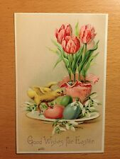 "Antique B.W. 313 Easter Postcard ""Good Wishes for Easter"" w Tulips"