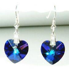 w Swarovski Crystal Bridal Wedding ~Titanic Blue HEART~ Sterling Silver Earrings