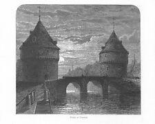 Kortrij Kortrijk Courtrai Broeltürme HOLZSTICH um 1880 Broeltorens Belgique