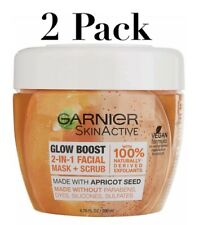Garnier SkinActive Glow Boost 2in1 Facial Mask + Scrub Apricot Seed-2 Pack