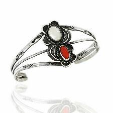 Navajo Handmade Sterling Silver Coral Cuff Bracelet