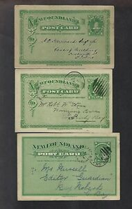 Newfoundland 1894-5 Three 1 cent Postal Cards  Prince of Wales UX3 Domestic use