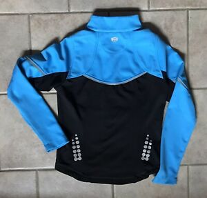 SUGOI Bicycle Cycling Riding zip Jacket Coat Reflective 3M Blue Black Womens Sml