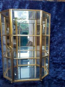 "Vintage Octagonal Brass Curio Display Cabinet mirrored back, 9""x7"""