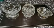 Partylite Cut Glass Candle Holder 3 Piece Set Lot Votive Candlestick Germany #X