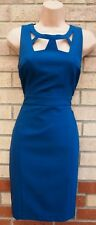 DOROTHY PERKINS TEAL CUT OUT NECK FORMAL WORK PENCIL BODYCON TUBE DRESS 10 S