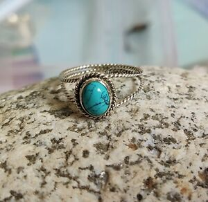 Turquoise Band Ring 925 Sterling Silver Plated Handmade Ring Size 9.5 k123