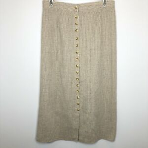 VTG Over & Under Size 18 Flax Blend Tan/Cream Striped Button Front Midi Skirt