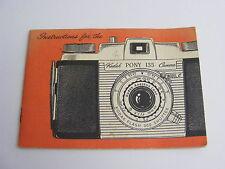 Kodak Pony 135 Camera Model C Original Instruction Owners Manual 1955 Vintage