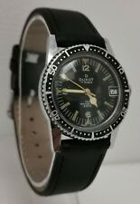 Vintage 1960s Duxot Swiss Mid Sized Unisex Black Faced Divers Date Wrist Watch
