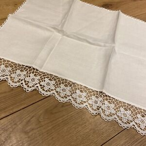 Vintage Cream Linen With Floral Edge Settee Sofa Back Cover Head  Rest