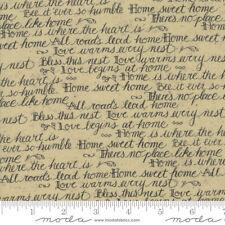 Moda Quilt Fabric Home Script by Kathy Schmitz color Oat by half-yard #7011 14