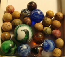 20 Vintage Marbles Antique Clay Slag Glass Blue Green Purple Old Time Toys