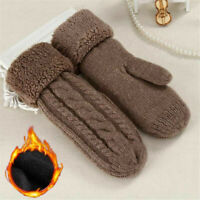 Warm Thickening Knitting Wool Women Mittens Full Finger Gloves Female Guantes