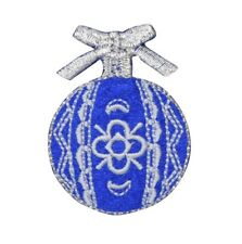 Christmas Ball Ornament - Royal Blue/White Iron on Applique/Embroidered Patch