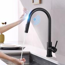 Smart Touch Sensor Kitchen Sink Mixer Tap 360° Swivel Pull Out Sprayer Faucet UK