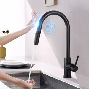 Black Automatic Sensor Touchless Kitchen Basin Mixer Sink Tap Hot & Cold Faucet
