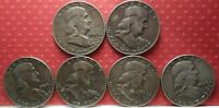 U.S.A:  Franklin 90 % Silver Half Dollar 1959 Lot of 6 KM # 199