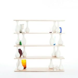 One of a Kind, Modular Shelving Unit, Beech Shelves and Vase Shaped Lathed Wood