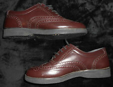 Leather Shoes Mens Brown Size 8 Medium Casual Dress Lace up Oxford Adult solid