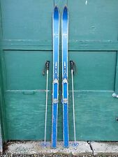 """GREAT Vintage BLUE Wooden Skis 65"""" Long with Cable Bindings + Metal Poles"""