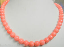"Natural 8mm pink coral round beads Necklace 18 ""AAA"