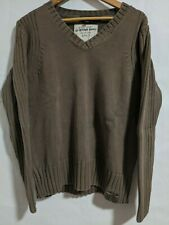 G-Star Raw Denim V-Neck Pullover Brown Sweater Mens Large 100% Cotton