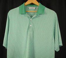 Ashworth Mens Short Sleeve Green Stripe Polo Golf Shirt L