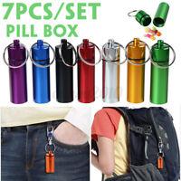 7X Mini Waterproof Metal Medicine Pill Box Case Bottle Holder Container Keychain
