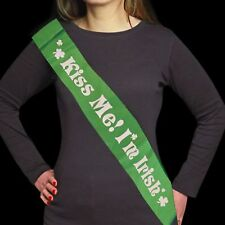 "St Patricks Day - Dress Up - Green ""Kiss me I'm Irish"" Sash"