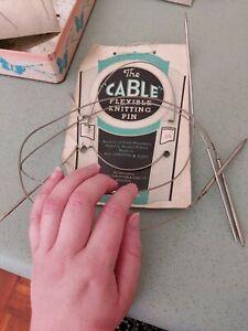 "Vintage Knitting Needles Flexible Cable Pins x3 Shrimpton & Sons England 12 24"""