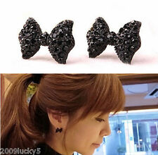 Topshop Black Cute Bow Stud Earrings Boho Kitsch Chic Indie Fashion Jewellery