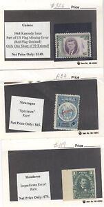 GUINEA(JFK error), Nicaragua(Specimen), Honduras(Imperf), 3 rare Stamps
