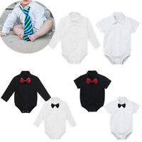 Baby Boys Dress Shirt Toddler Gentleman Bowtie Formal Suit Party Romper Outfits
