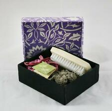Flower pumice soap and brush set in purple colour fabric covered gift box
