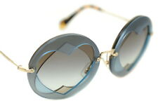 MIU MIU 01SS VA0-0A7 Ladies Womens ROUND HEART REVEAL Sunglasses BLUE BROWN GOLD