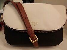 Fossil Ladies Leather Gwen Small Flap Crossbody Bag, Black/White SHB1333005 $168