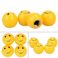 4pcs Car Auto Yellow Smile Face Ball Wheel Tyre Valve Stems Air Dust Caps Cover