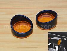 Black Visor Style Turn Signal Bezels Orange Lens Cover For Harley Custom Cruiser
