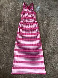 NWT Big Girls Splendid Striped Dark Pink White Racerback Maxi Dress Side Slit 14