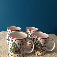 "Block China  ""Christmas Party""  12 oz  Mugs  -   Set of (4)         1997-1999"